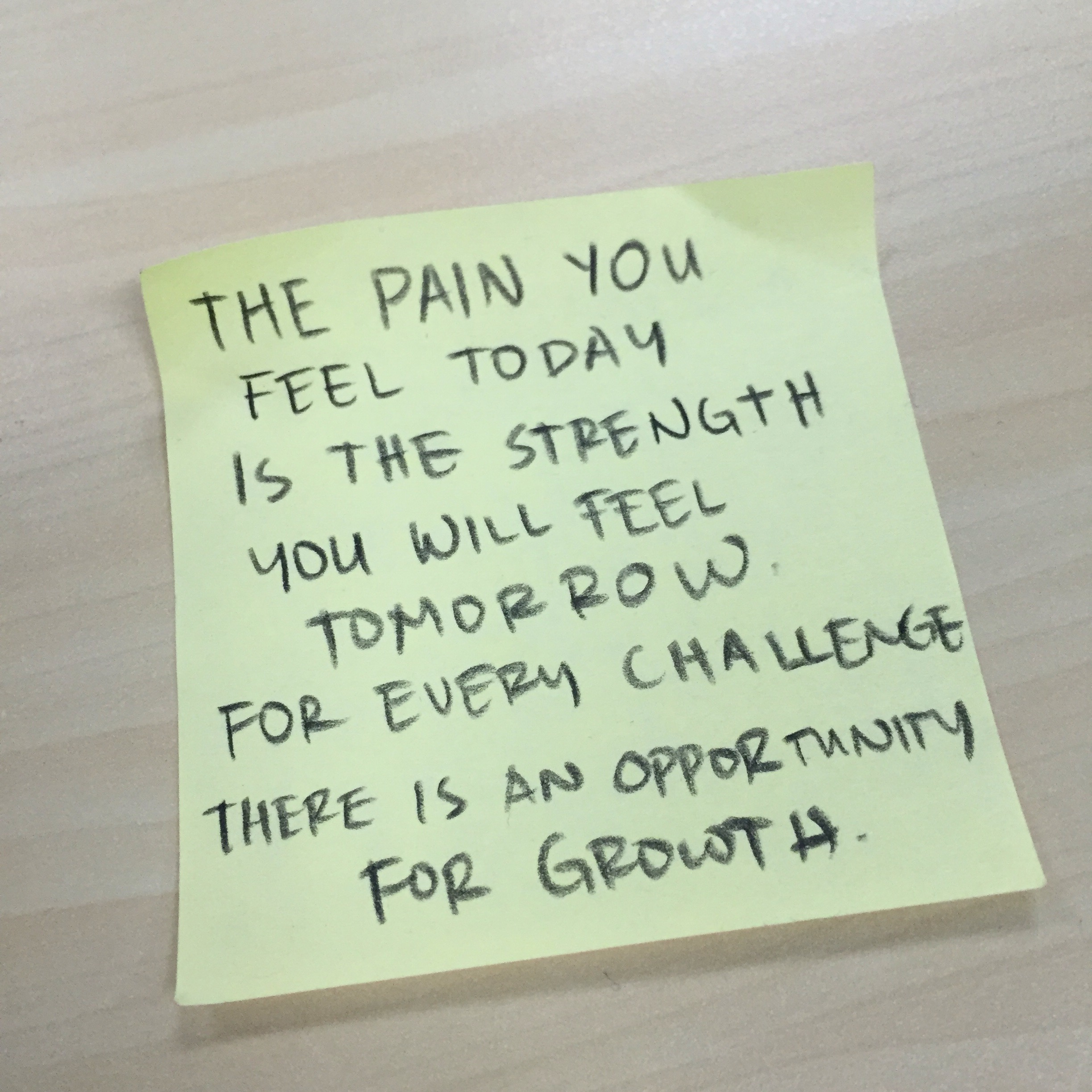 The pain you feel today is the strength you will feel tomorrow. For every challenge, there is an opportunity for growth.